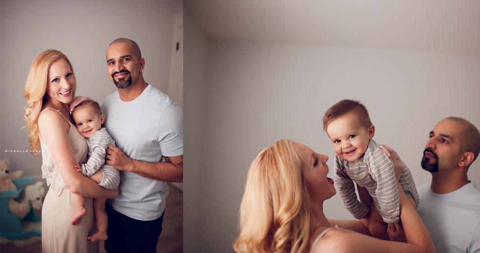 family lifestyle photo, nursery, smiling baby, one year portraits, one year old, 1 year photo, colour, family, mother son father